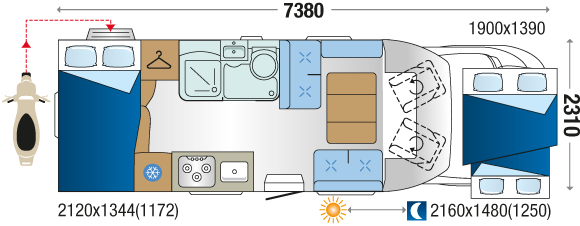 Plan interiéru autokaravanu