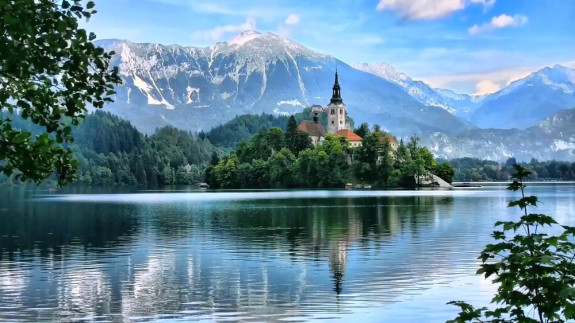 Lake Bled and the island with a bell tower, Slovenia